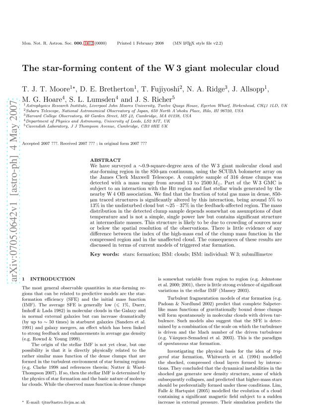 T J T Moore - The star-forming content of the W3 giant molecular cloud