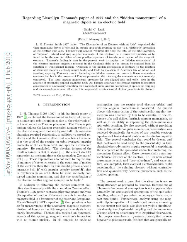 """David C. Lush - Regarding Llewellyn Thomas's paper of 1927 and the """"hidden momentum"""" of a magnetic dipole in an electric field"""