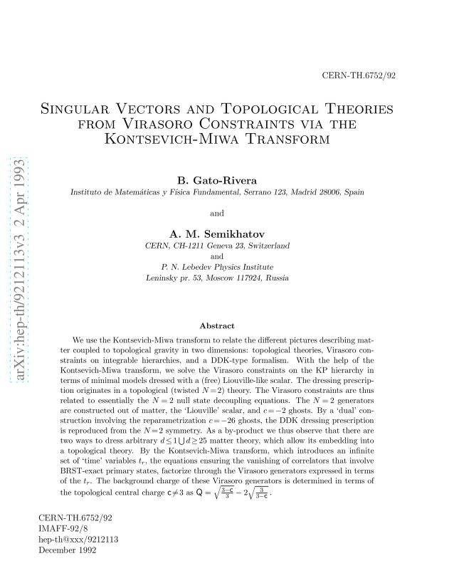 B Gato-Rivera - Singular Vectors and Topological Theories from Virasoro Constraints via the Kontsevich-Miwa Transform
