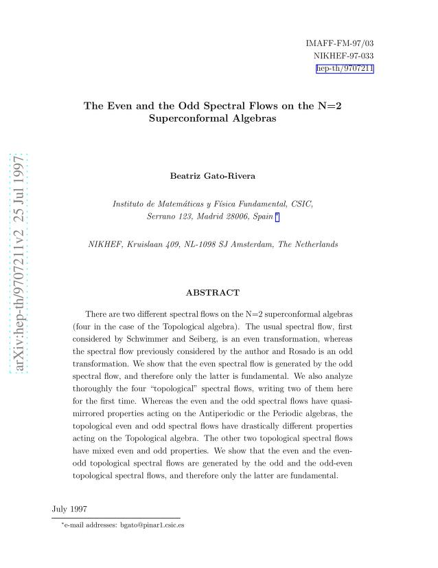 Beatriz Gato-Rivera - The Even and the Odd Spectral Flows on the N=2 Superconformal Algebras