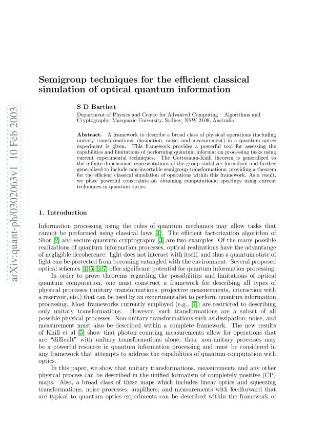 Stephen D. Bartlett - Semigroup techniques for the efficient classical simulation of optical quantum information