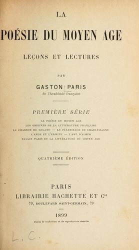 La poesie du moyen age by Gaston Paris