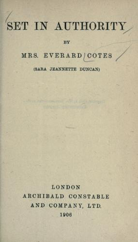 Set in authority by Cotes, Everard Mrs